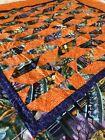 "Halloween Theme Pre-Sewn Quilt Square Wall Hanging Orange Purple 30"" x 31"""