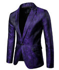 Mens Suit Coat Fashion Slim Formal Business One Button Blazer Jacket Tuxedo Tops