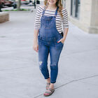 Pregnant Women Maternity Denim Dungarees Ripped Jumpsuit Overall Jeans Trousers