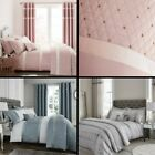 Catherine Lansfield Sequin Cluster Duvet Set Bedspread Curtains Pink Grey Blue