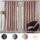 Sienna Valencia Crinkle Velvet Curtains Pair of Eyelet Ring Top Fully Lined Grey