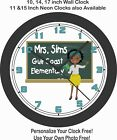 AFRICAN AMERICAN SCHOOL TEACHER WALL CLOCK-PERSONALIZED W/ NAME AND SCHOOL NAME