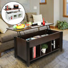 Lift Top Coffee Table w/Hidden Compartment Storage Shelves Living Room Furniture