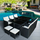 Outdoor 9/11 Piece Rattan Garden Furniture Cube Set Dining Chairs Table Patio