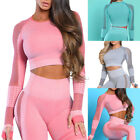 Womens Yoga Crop Tops T Shirt Long Sleeve Workout Fitness Athletic Sports Gym