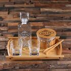 Personalized Whiskey Decanter Set w/ Glasses, Tongs, Wooden Tray ; Ice Bucke