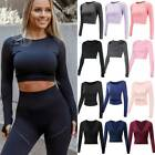 Women's Seamless Long Sleeve Yoga Top Crop Tank Sports Shirt Salubriousness Gym Workout