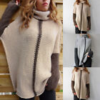 Women Turtleneck Sweater Oversize Chunky Knit Tunic Pullover Jumper Casual Tops