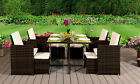 Rattan Outdoor Garden Patio Furniture 9pc Cube Set - 4 Chairs 4 Stools & Table
