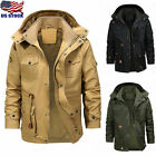 Men Winter Warm Thick Fur Lined Jacket Coat Hooded Zipper Military Parka Outwear