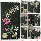 Bling Diamond Leather Flip wallet Stand Phone case & 2 straps For ZTE