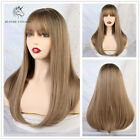 Ladies Long Straight Wigs with Bangs Natural Synthetic Blonde Hair Wig for Women