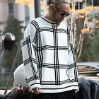 ByTheR Mens Jacquard Soft Knit Window Check Vintage Luxury Warm Knit Sweater