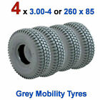 4 x 3.00-4 or 260 x 85 Grey Mobility Scooter Tyres 300x4 Blocked Tread 260x85