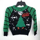 Star Wars Boys Striped Holiday Christmas Tree Sweater Ugly Green Black Patches $13.49 USD on eBay