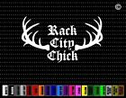 Rack City Chick Funny Hunting Car Sticker Window Vinyl Decal Redneck Woman Buck