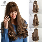 Long Wavy Wigs for Women Natural Wave Hair Brown Mixed Blonde Wig with Bangs