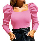 Women Square Neck Puff Sleeve Crop Tops Casual Slim Fit Long Sleeve Blouse Shirt