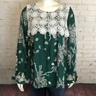 Entro Green Floral Shirt Long Sleeve Top Embroidered Front Boho  S&M Available
