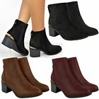 Womens Ladies Low Block Heel Ankle Boots Plated Trim Casual Winter Shoes Size UK