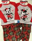 Disney 2 Piece Holiday Family Sleep Fleece Pajamas- Mickey or Minnie, Plaid