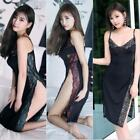 Sexy See-through Ice Silk Lace Floral Dress Bodysuit Lingerie Cosplay Thong Set