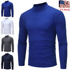 Men's Autumn Winter Pullover Polo Neck Turtleneck Long Sleeve T-shirt Top Blouse image