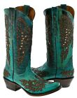 Womens Turquoise Cowboy Boots Leather Studded Rhinestones Wings Cross Snip Toe