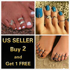 3or12 Pcs Silver Gold Elegant Women Toe Ring Rings Foot Adjustable Beach Jewelry image