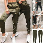Women Gym Long Pants Side Stripe Elastic Waist Pencil Slim Joggers Trousers GIFT