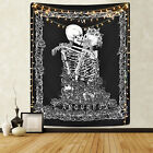 US Skull Tapestry The Kissing Lovers Wall Hanging Black Tarot Tapestry Art Decor