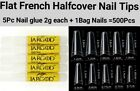 100/500/1000 Pcs Flat French Half Cover Artificial Acrylic French False Nail Tip