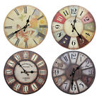 12'' Silent Vintage Rustic Wooden Round Wall Clock Retro Home Kitchen Chic