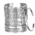 Stainless Steel Engraved Inspirational Letters Cuff Mantra Bangle Bracelet Women