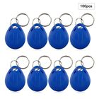 100 Pcs Blue Keychains RFID Proximity Card Key for Door Access Control System