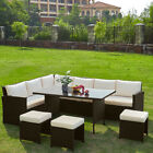 Outdoor Rattan Garden Furniture 8-9 Seater Corner Sofa Patio Set with cushion