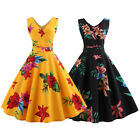 Womens Sleeveless 1950s 60s Vintage Floral Rockabilly Evening Party Swing Dress