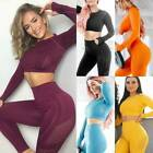Womens Seamless Yoga Process Crop Top+Leggings Set Sports Fitness Gym Outfits Suit