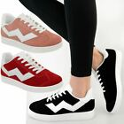 Womens Flat Sneakers Lace Up Pumps Trainers Comfy Thick Rubber Sole Shoes Size