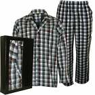 BOSS Urban Check Men's Woven Pyjamas Gift Set, Blue/multi