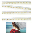 Pearl Ribbon Beads Lace Trim Ivory Wedding Dress Decor DIY Sewing Accessories