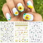 Flowers Leaves 3D Nail Sticker Colorful Sunflower Nail Art Stickers Decal Tips