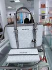 NWT Michael Kors Jet Set Travel Leather XS Tote Satchel Bag  Triford Wallet