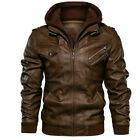 Men's Genuine Real Leather Jacket Brown Bomber Winter Hooded Jacket Coat