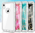 Clear & Marble Defender Case For iPhone XR XS Max X XS Work with Otterbox Clip