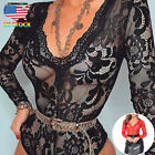 Women Long Sleeve Deep V Neck Lace Bodycon Party Bodysuit Jumpsuit Leotard Tops