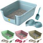 CatCentre® Large Cat Kitten Litter Tray + Luxury Bowls & Scoop Bundle Open Set