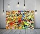 JACKSON+POLLOCK+16-+FRAMED+CANVAS+ARTIST+WALL+ART+PAPER+PICTURE+PRINT-+YELLOW