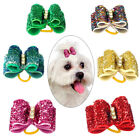 20/100pcs Rhinestone Dog Hair Bows with Rubber Bands Bling Grooming Accessories