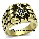 HCJ MENS ANTIQUE GOLD STAINLESS STEEL NUGGET STYLE MASONIC RING SIZE 8 - 13